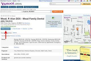 Yahoo local page