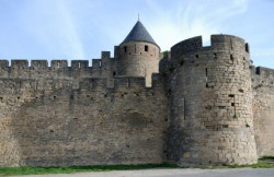 Old defense walls of Carcasson castle, France